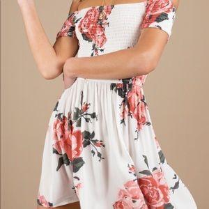 Tobi floral off the shoulder dress